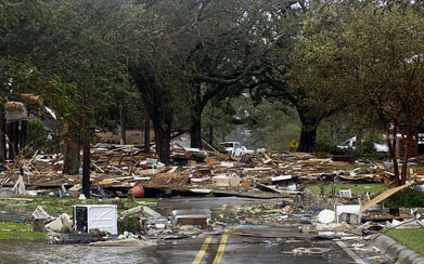 A road filled with debris