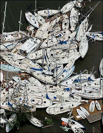 Boats pushed together by the violent winds of Hurricane Katrina