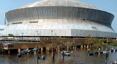 The flooded New Orleans Superdome