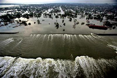 Hurricane Katrina topples levees in New Orleans